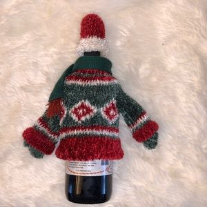 Christmas Wine Bottle Sweater & Hat Wrap